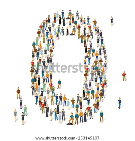 People crowd. Vector ABC, letter O - stock vector