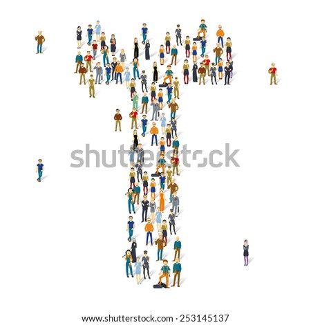People crowd. Vector ABC, letter T - stock vector