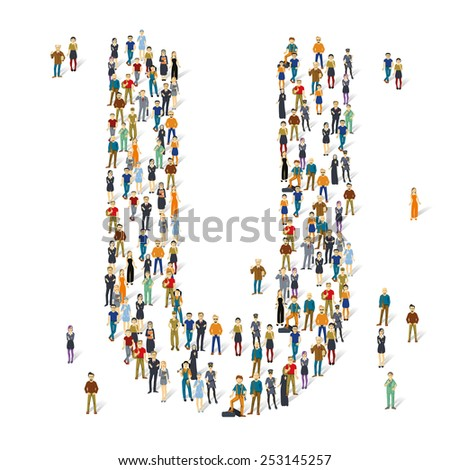 People crowd. Vector ABC, letter U - stock vector