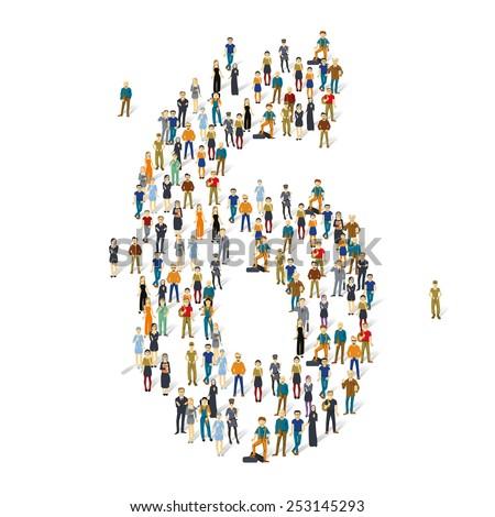 People crowd. Vector figures, 6 - stock vector