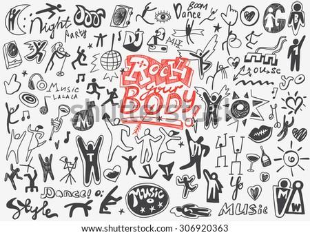 people dance , music party - doodles set - stock vector