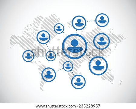 people diagram network illustration design over a white background - stock vector