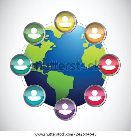 people diversity globe illustration design over a white background - stock vector