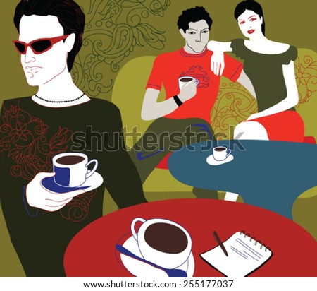 People drinking coffee at a restaurant - stock vector