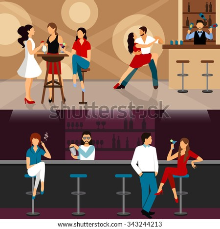 People drinking in bar horizontal banner set isolated vector illustration - stock vector