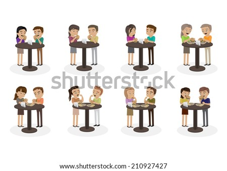 People Eat A Hamburger Set - Isolated On White Background - Vector Illustration, Graphic Design Editable For Your Design - stock vector