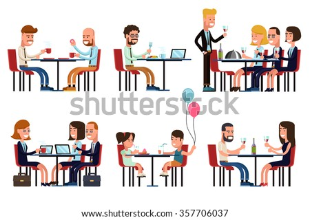 People eating and talking in restaurant or coffee shop. Flat style vector icons set - stock vector