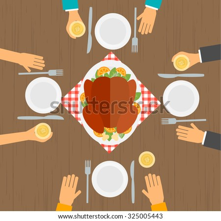 People eating turkey, table  top view vector illustration - stock vector