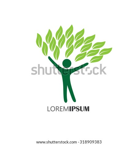 people embracing tree or nature - eco lifestyle concept vector. This graphic also represents harmony, nature conservation, sustainable development, natural balance, development, healthy growth - stock vector