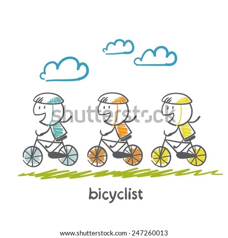 people engaged in cycling illustration - stock vector
