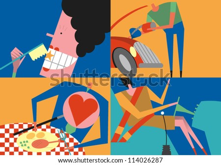 People engaged in smart and healthy activities - stock vector