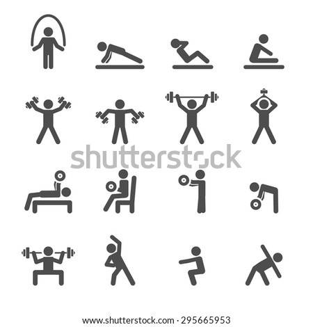 people exercise in fitness icon set, vector eps10. - stock vector