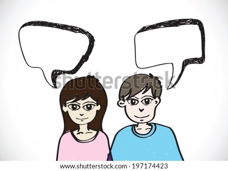 People face emotions icons with dialog speech bubbles - stock vector