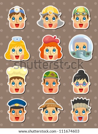 people face stickers - stock vector
