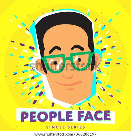 People face. Vector face icon. Face avatar. Fashion people. Flat design. People portrait. Face. Boy face. Male face. Adult face. Close up face. Human head. Human face on bright colorful background. - stock vector