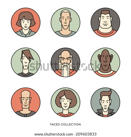 People faces of different ages and social groups. Colored vector icons set in trendy flat style. - stock vector