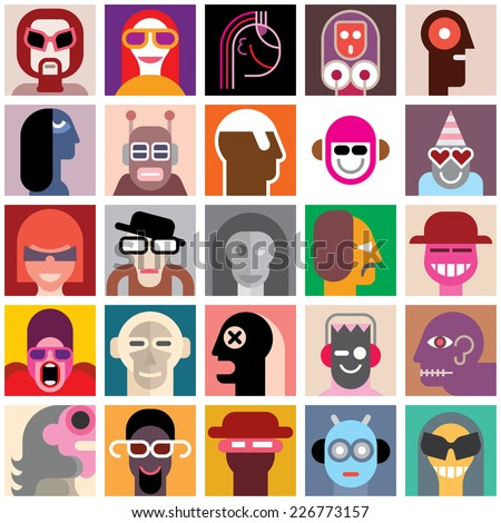 People faces vector set. Collage of a different people portraits. Seamless wallpaper. - stock vector