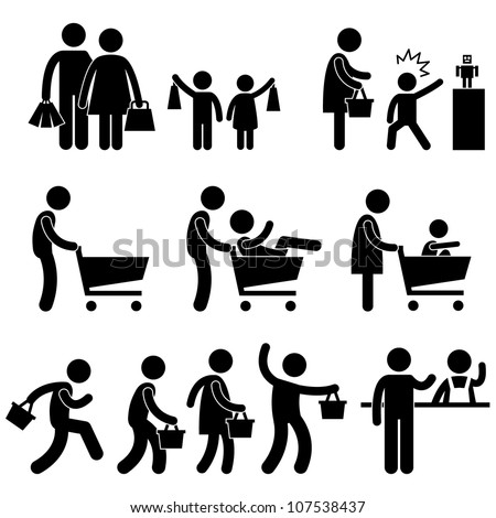 People Family Shopping Shopper Sales Promotion Icon Symbol Sign Pictogram - stock vector
