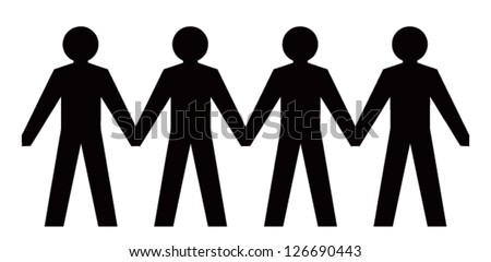 People figures holding hands. Vector images - stock vector