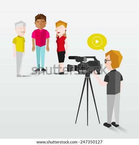 People Filming Using Video Camera Vector Illustration - stock vector