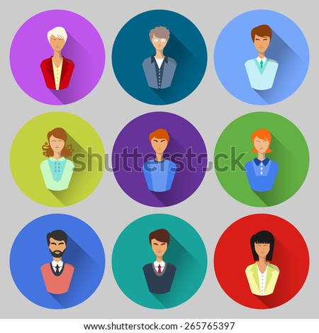 People Flat icons with shadow.Icon users. Vector - stock vector