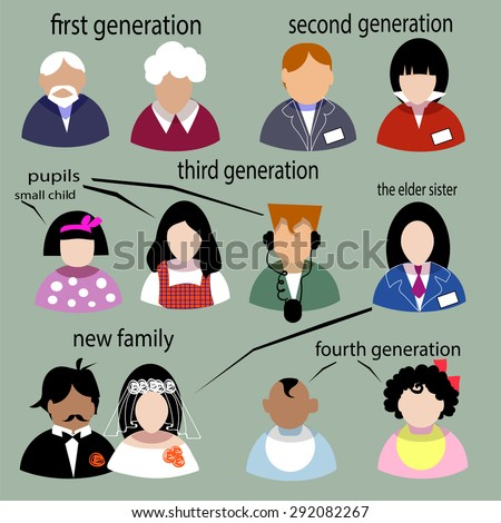 People flat set icons.Illustration family life - stock vector