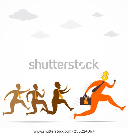 people follow dollar men to catch and got the money concept vector - stock vector
