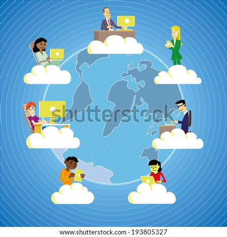 People from all around the world working and cooperating using cloud technology. - stock vector