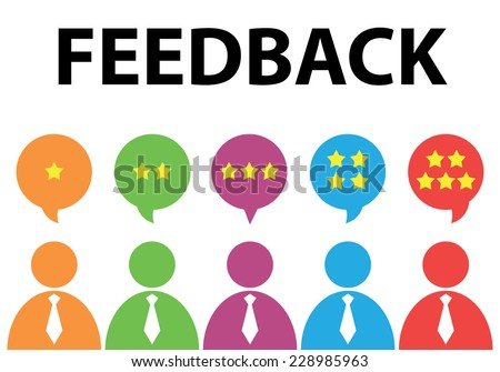 People give star rating to feedback. Vector illustration. Flat design. Reviews and discussion concept - stock vector