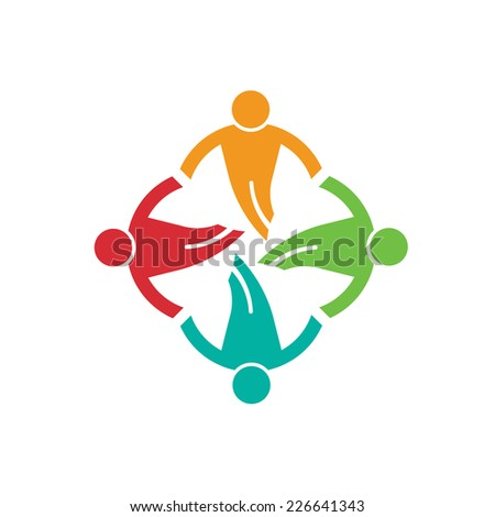 People ground in circle 4 , helping each other.Vector icon - stock vector