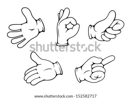 People hand gestures set in cartoon comics style. Jpeg version also available in gallery - stock vector