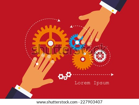 People hands hold gears. Business start up concept. - stock vector