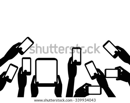 People hands holding mobile phones background - stock vector