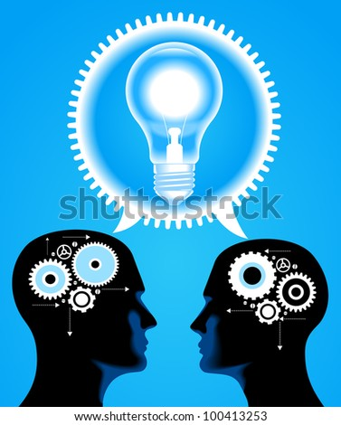people has an idea. Brain storming. File is saved in AI10 EPS version. This illustration contains a transparency - stock vector