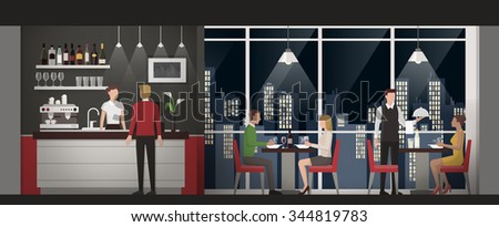 People having an exclusive dinner at the rooftop restaurant at night time, nightlife and luxury concept - stock vector