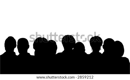 people heads silhouette - stock vector