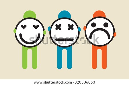 people holding different emotion cards in front of them as a shield - stock vector