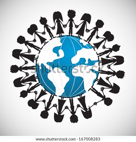 People Holding Hands Around Globe - stock vector