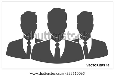 People icon, Group of business people with leader on foreground  - stock vector
