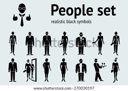 People icon set. Standing, going  ladies and men.  Black silhouettes on white. Office worker, clerk symbol. Vector isolated - stock vector