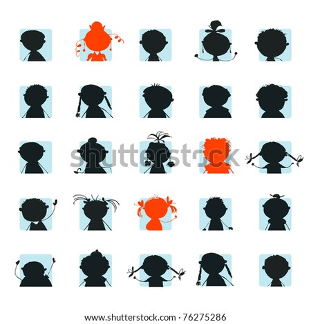 People icon, silhouettes of avatar - stock vector