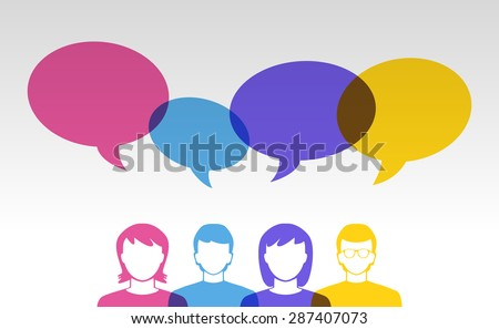 people icons and colorful speech bubbles - stock vector