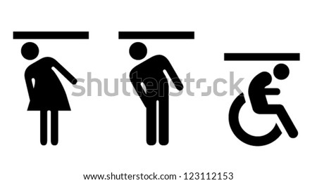 People icons: glass ceilings; for women, men, and the disabled. - stock vector