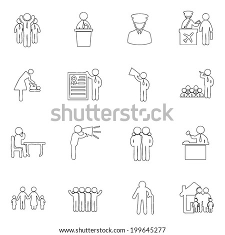 People icons line  drawing by hand Set 1 - stock vector