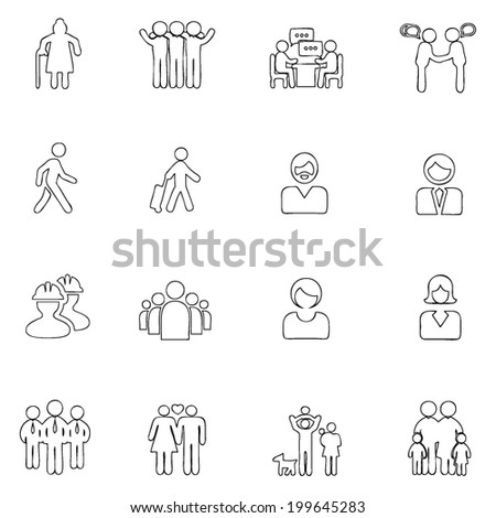 People icons line  drawing by hand Set 8 - stock vector