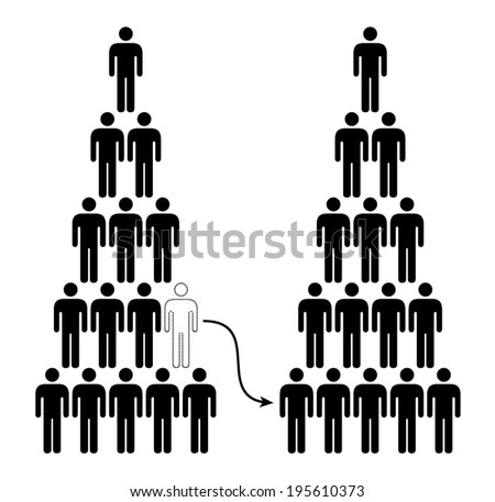 People icons: moving to another company in a lower position. - stock vector