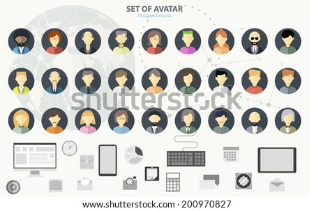 People icons. People Flat icons collection. Set of avatar flat design icons - stock vector
