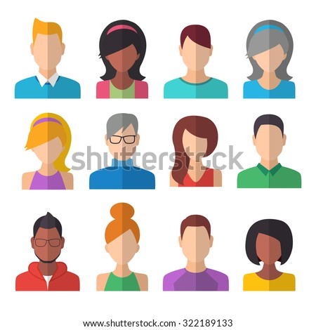 People Icons Set. Team Concept. Flat Style Modern Design. Vector Illustration - stock vector