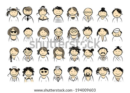 People icons sketch for your design - stock vector