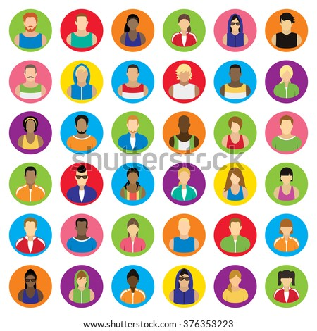 People icons. Sport and fitness. - stock vector